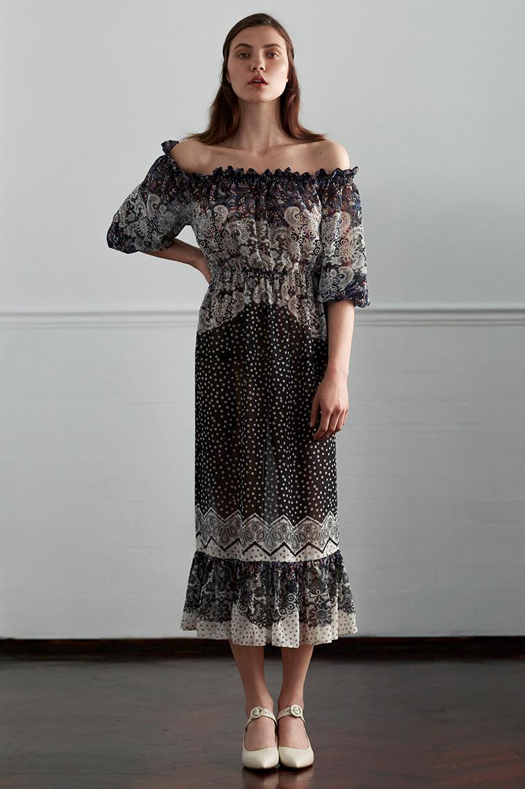 Saloni Elisa floral-print chiffon dress