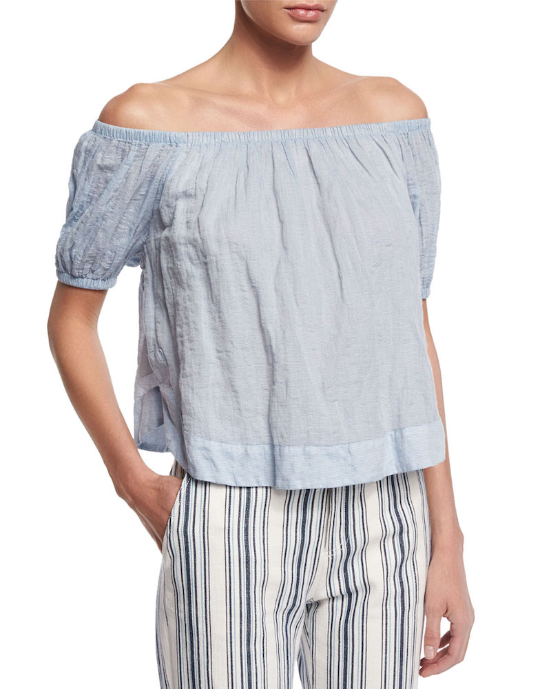 See By Chloé Crinkled Off-the-Shoulder Top_1