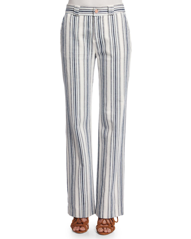 See By Chloé Striped Boot-Cut Trousers