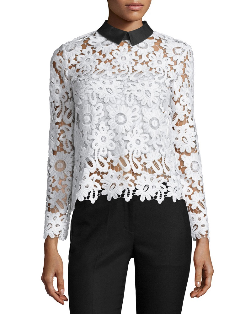 Self Portrait Long-Sleeve Collared Lace Top-