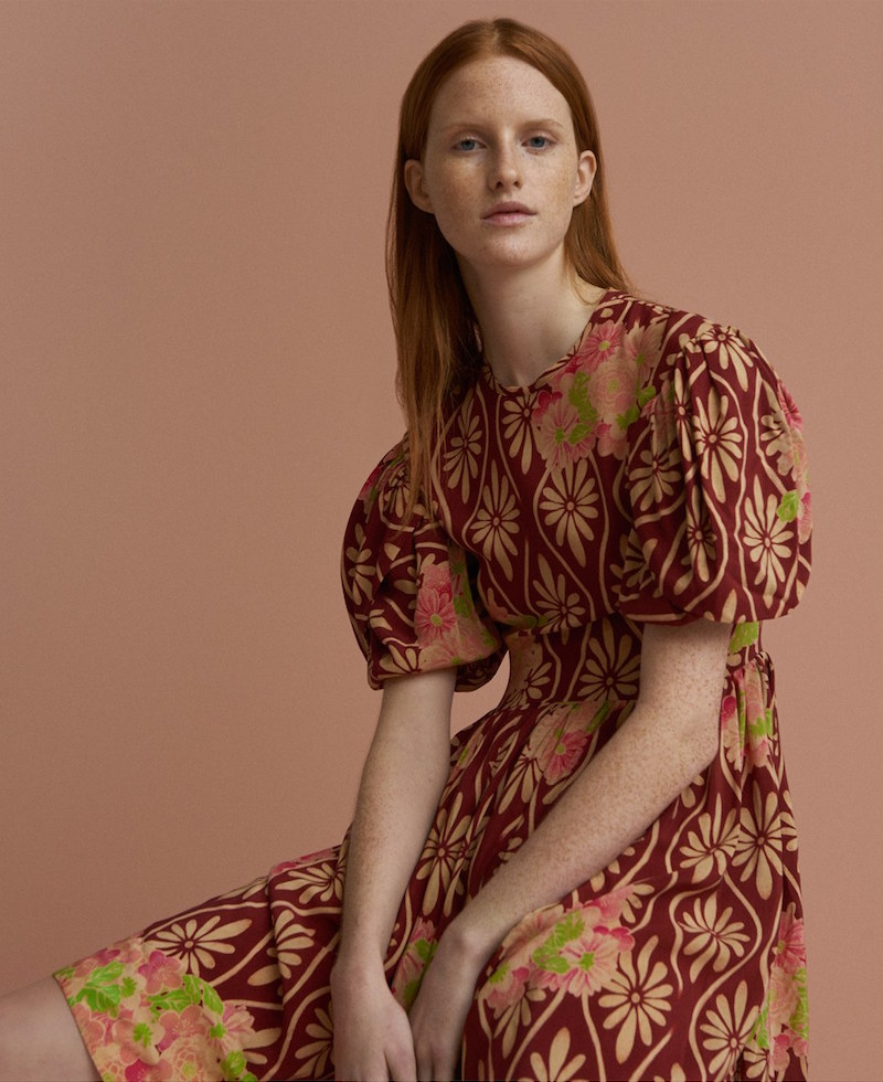 Simone Rocha Floral Print Puff Sleeve Silk Dress