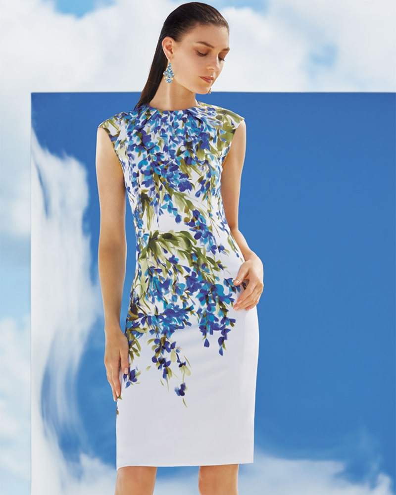 St. John Collection Budding Floral-Print Sheath Dress