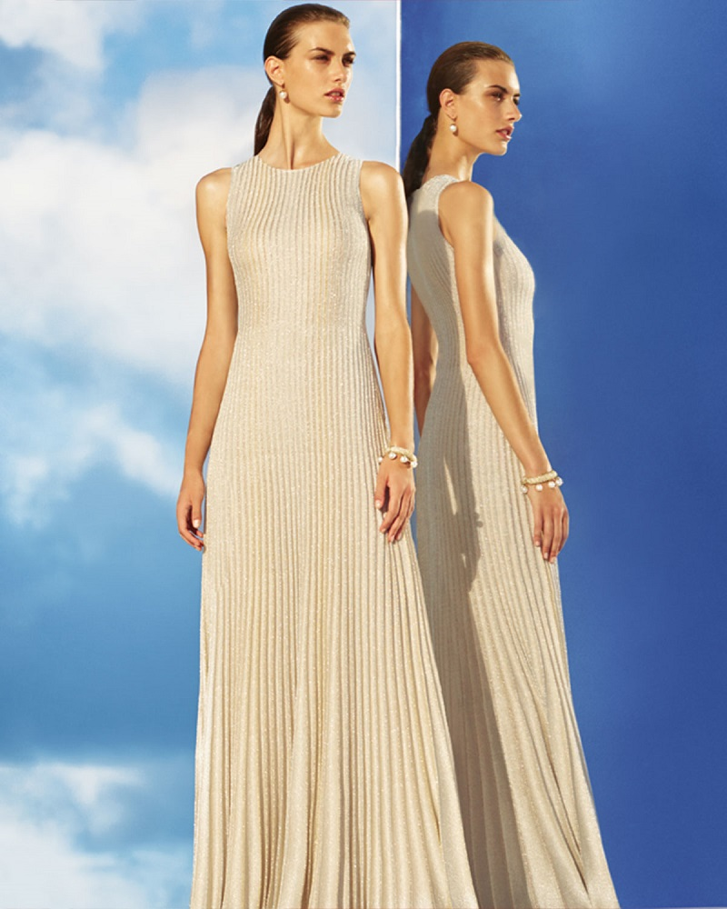 St. John Collection Kiklos Shimmery Knit Flared Gown