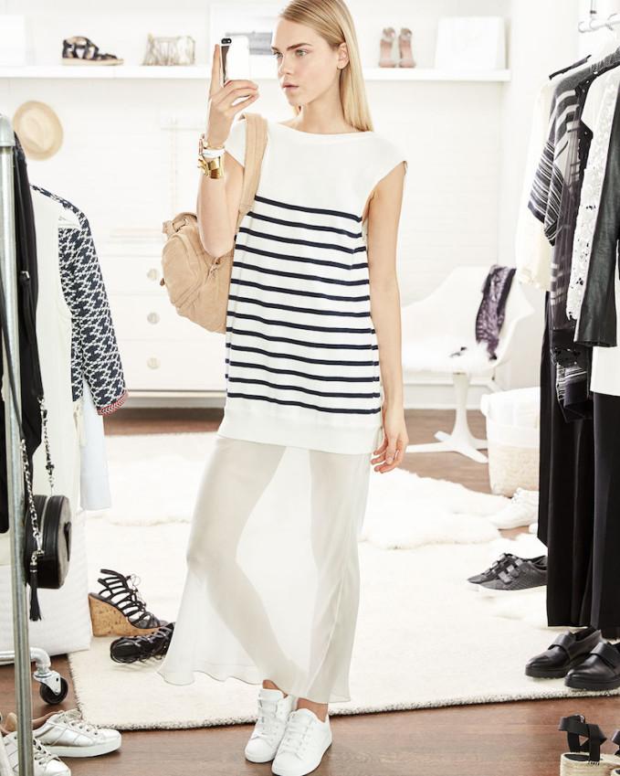 T by Alexander Wang Striped Cotton Silk Long V-Back Maxi Dress