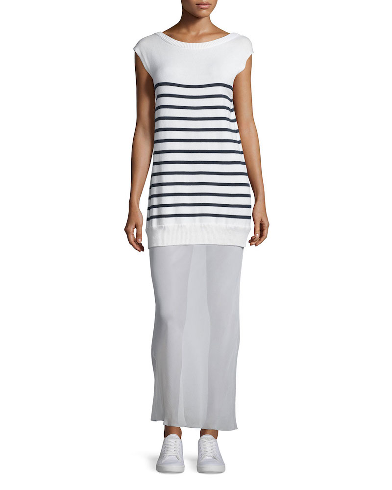 T by Alexander Wang Striped Cotton/Silk Long V-Back Maxi Dress