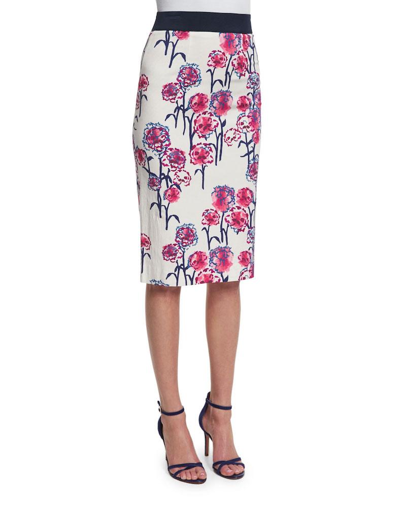 Tanya Taylor Jenny Textured Garden-Print Skirt_1
