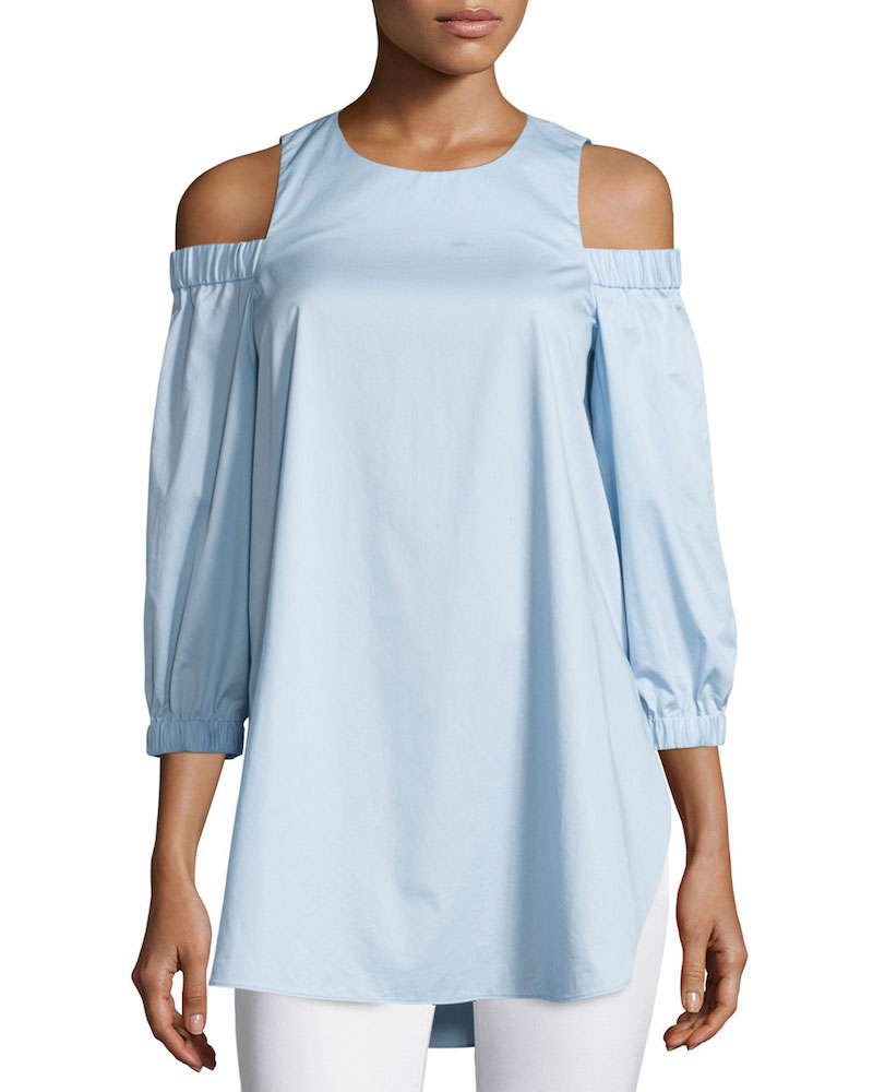 Tibi Satin Poplin Cold-Shoulder Blouse
