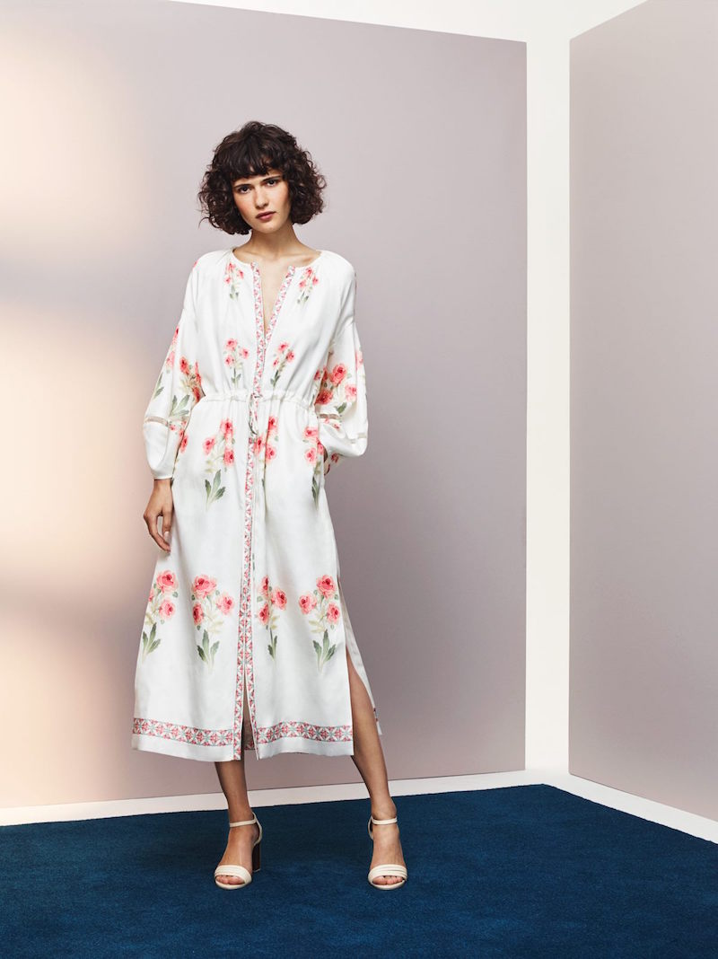 Vilshenko Penny Rose Print Raw Silk Midi Dress