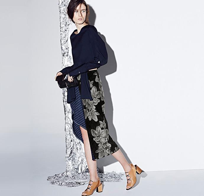 3.1 Phillip Lim Printed Ruffle-Detail Skirt