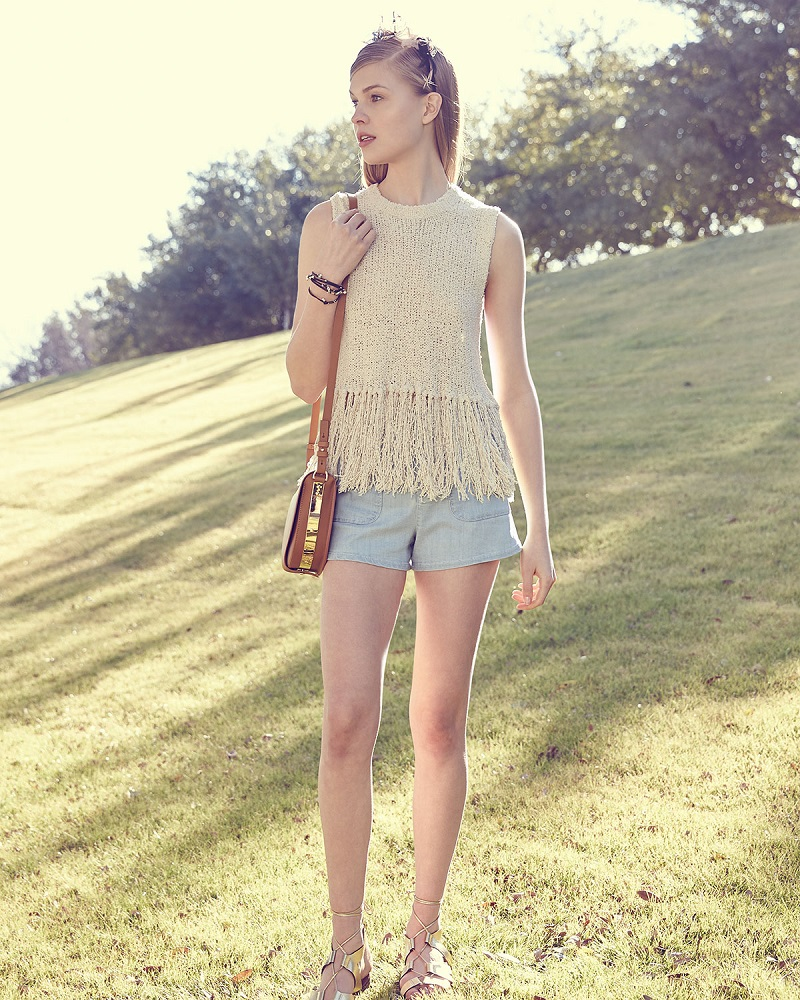 A.L.C. Dylan Sleeveless Popcorn Silk Fringe Top