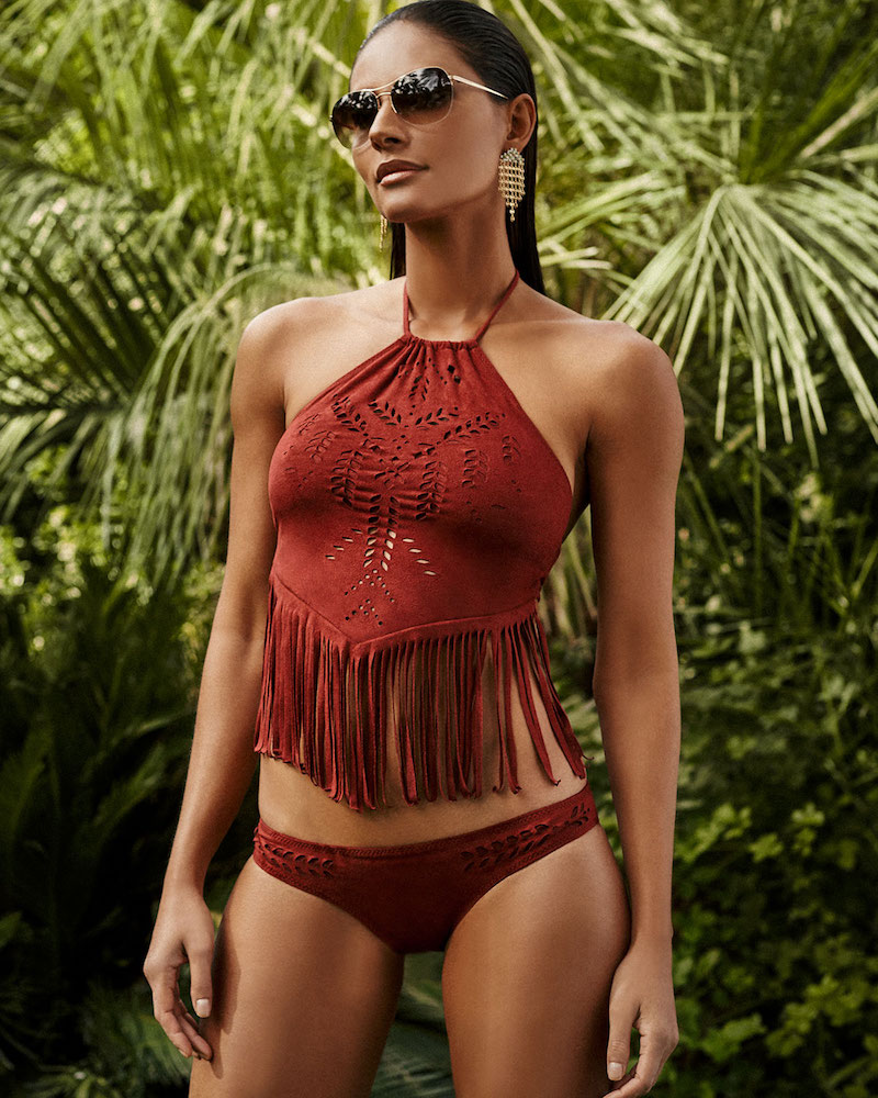 Ale by Alessandra Holy Cow Fringed High-Neck Crop Swim Top