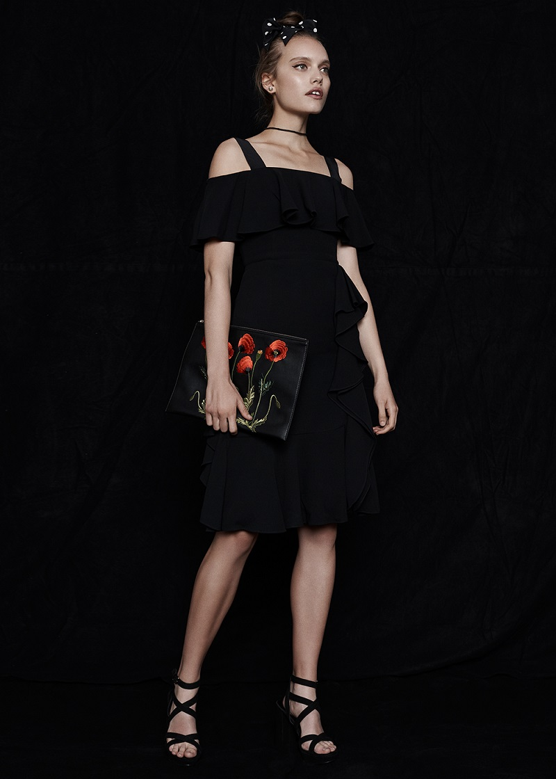 Alexander McQueen Off Shoulder Drape Dress