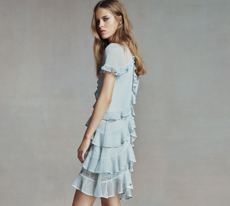 Alexander McQueen Ruffled lace and knit dress
