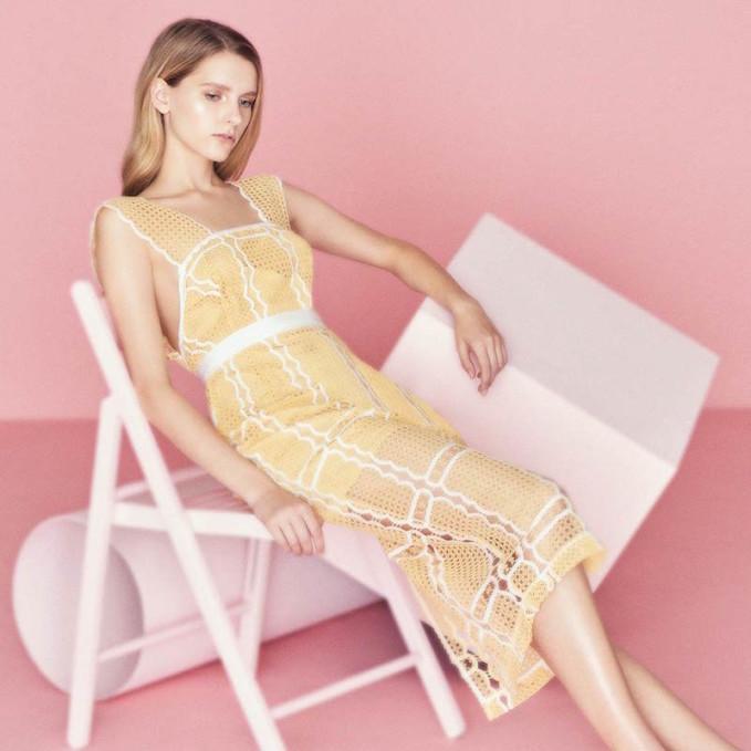 Alice McCall Can't Compare Lace Trim Midi Dress
