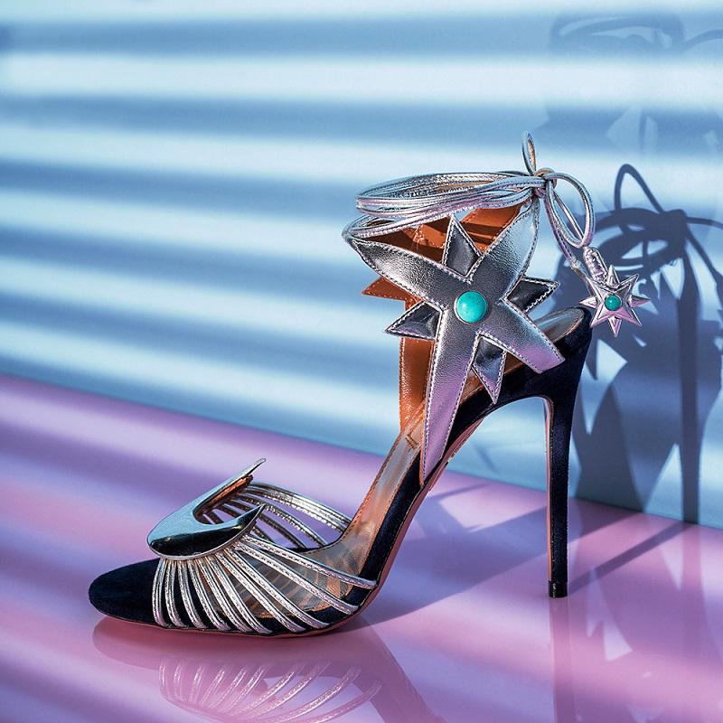 Aquazzura x Poppy Delevingne Midnight Leather Heels