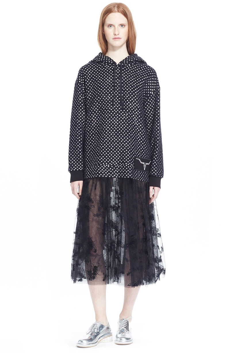Ashley Williams Crystal Embellished Cotton Hoodie