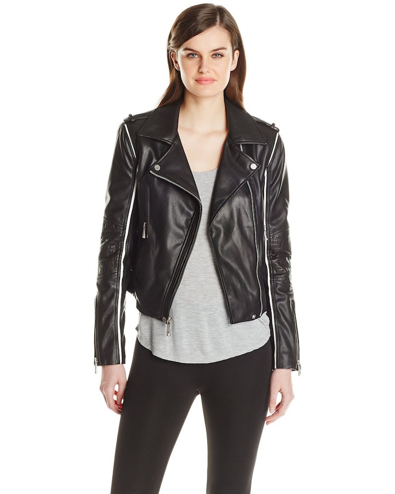 BCBGMAXAZRIA Faux-Leather Moto Jacket with Contrast Piping