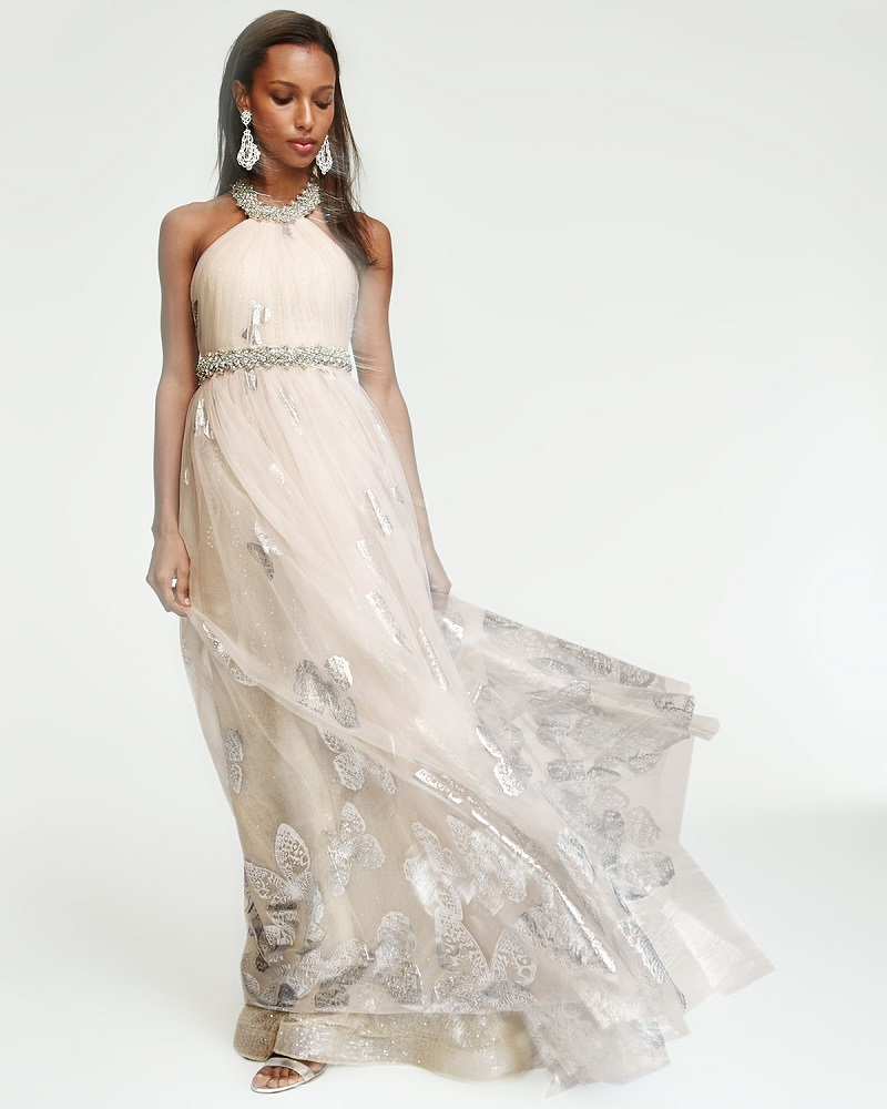 Badgley Mischka Halter Beaded Butterfly Tulle Gown