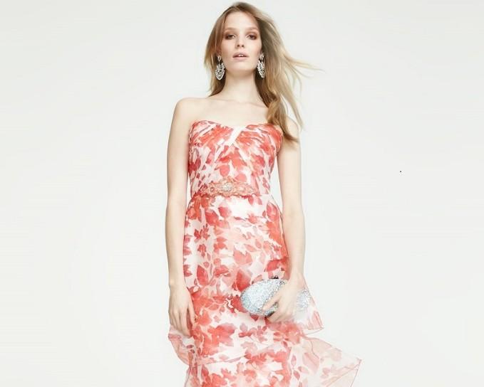 Badgley Mischka Strapless Floral Organza Gown -