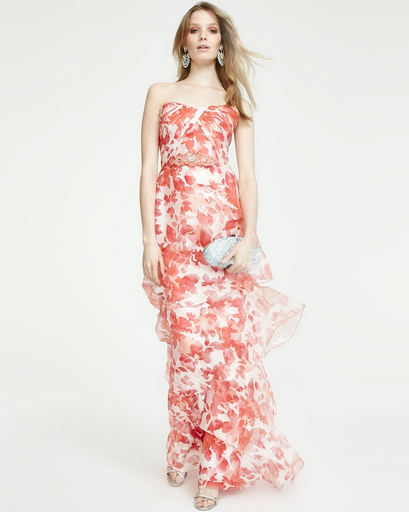 Badgley Mischka Strapless Floral Organza Gown
