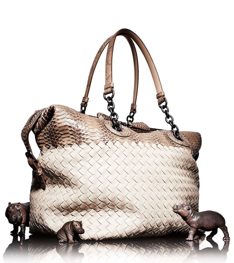 Bottega Veneta Medium Intrecciato & Snakeskin Satchel Bag