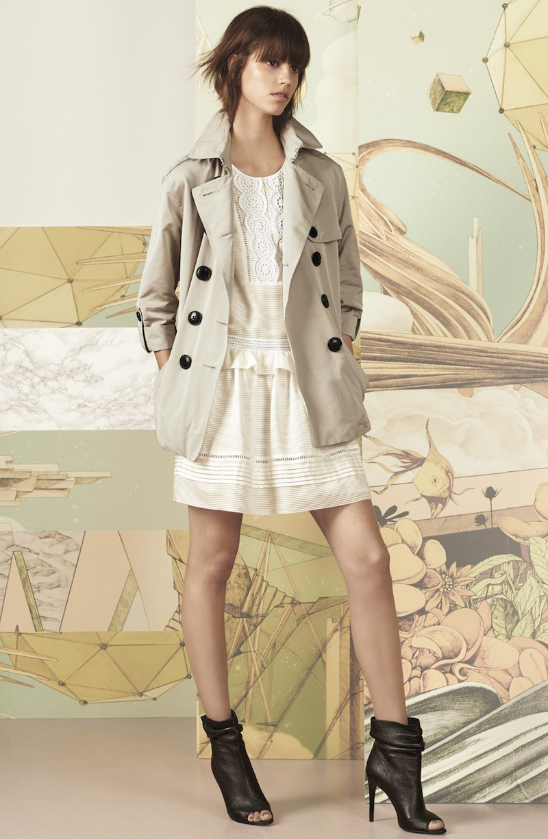 Burberry Brit Knightsdale Belted Drop Tail Hooded Trench Coat