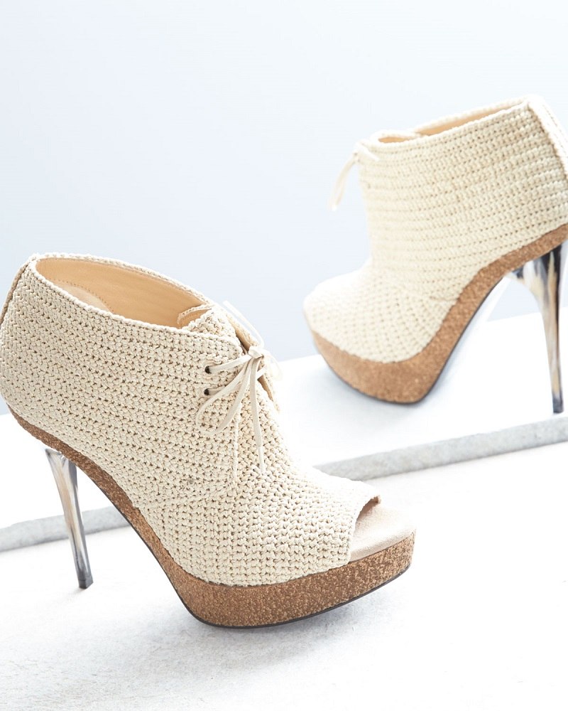 Burberry Darfield Crochet Peep-Toe Bootie