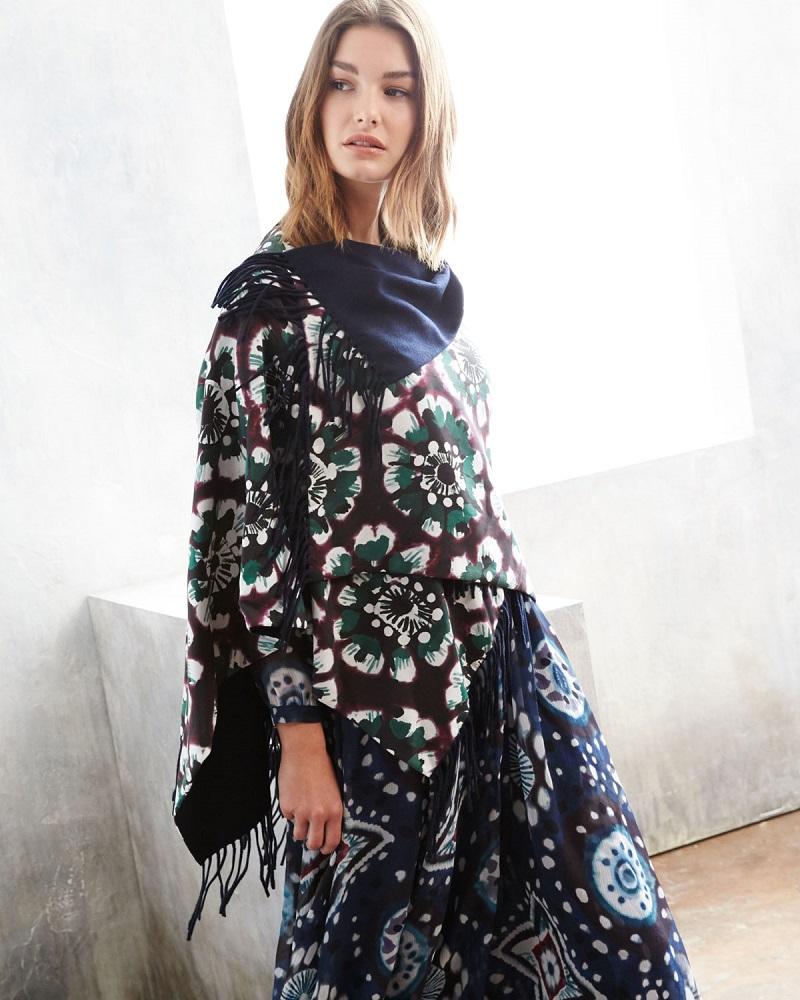 Burberry Prorsum Floral Tie-Dye Poncho