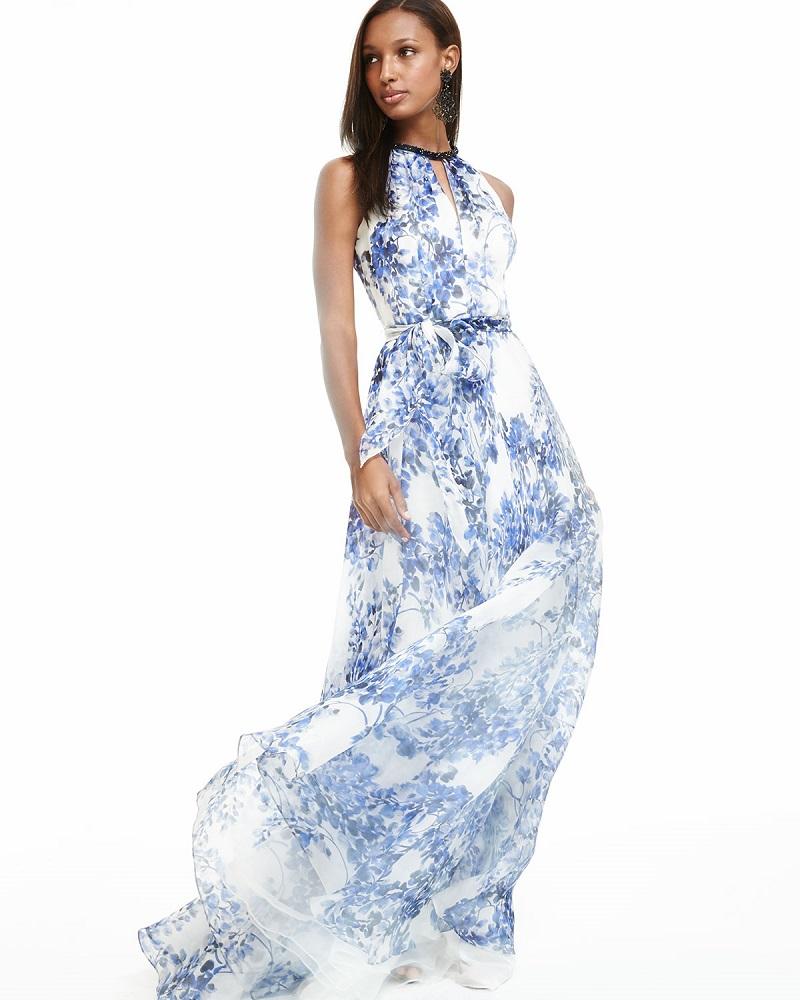 Carmen Marc Valvo Sleeveless Halter Floral-Print Gown