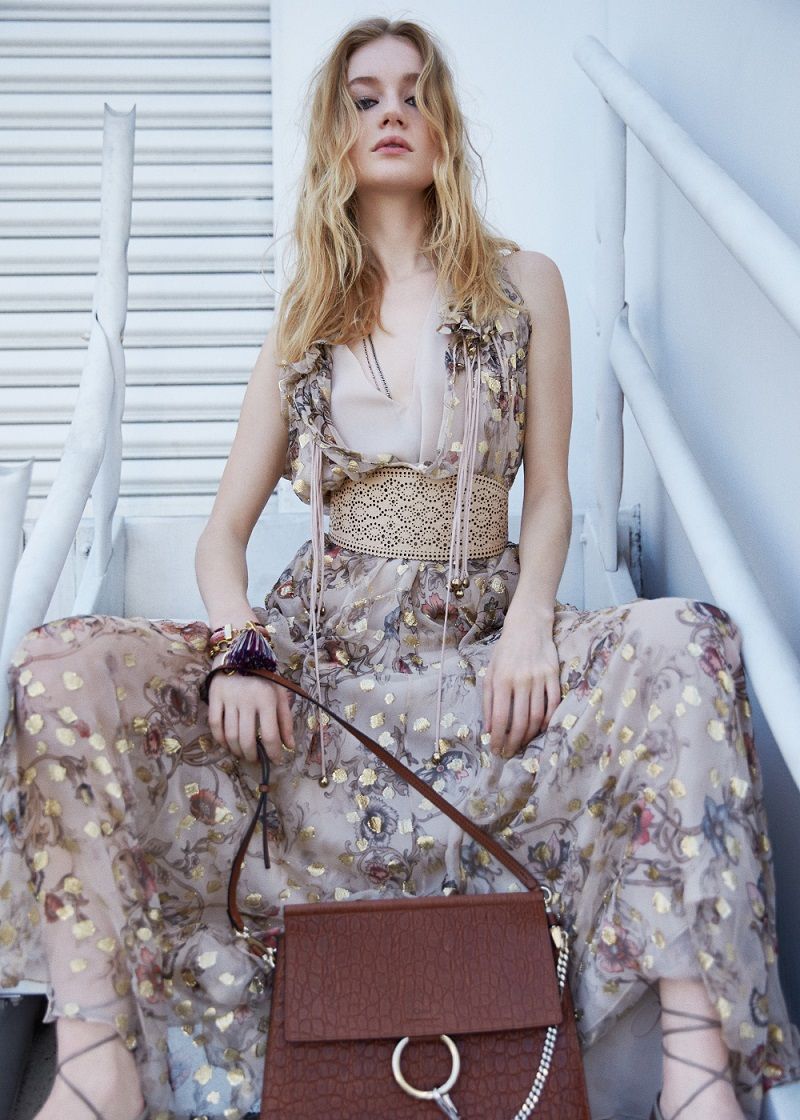 Chloé Flower Print Fil Coupe Maxi Dress