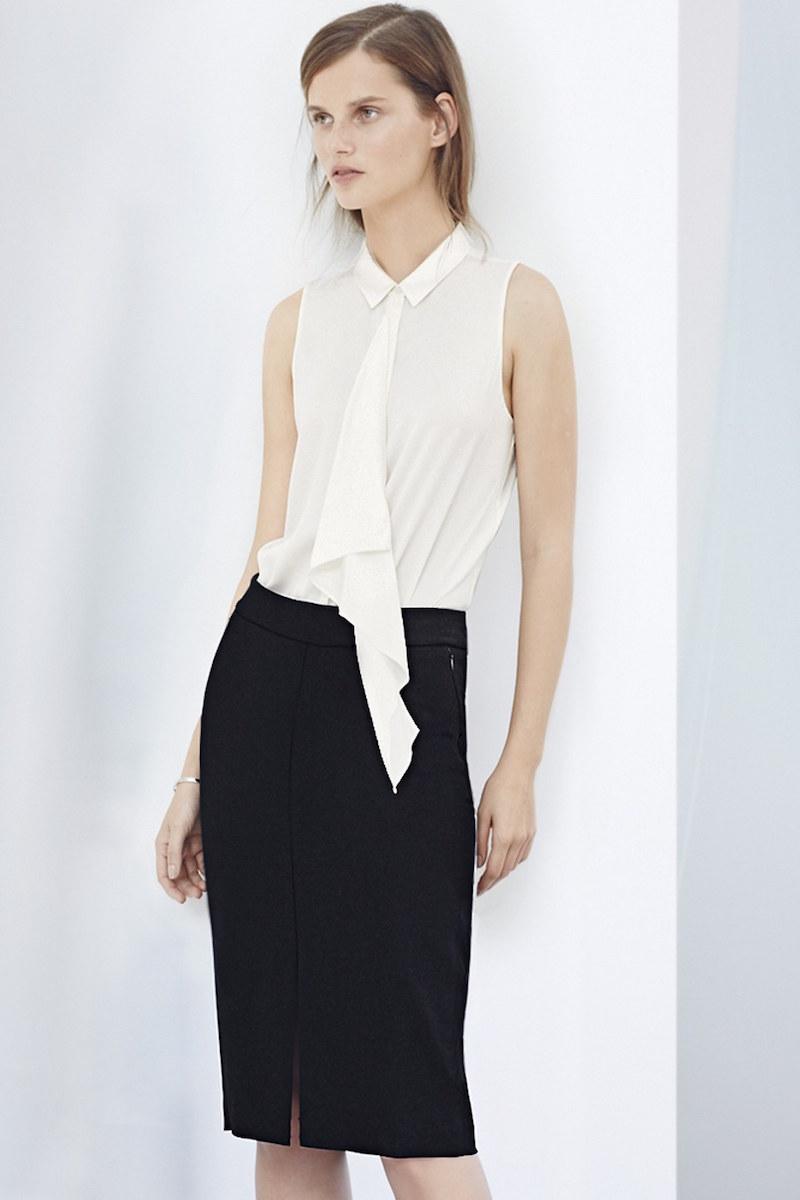 Classiques Entier Ruffle Front Stretch Silk Blouse