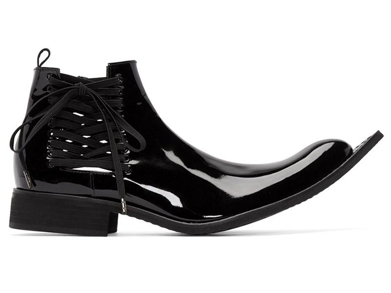 Comme des Garçons Black Patent Leather Pointed Boots