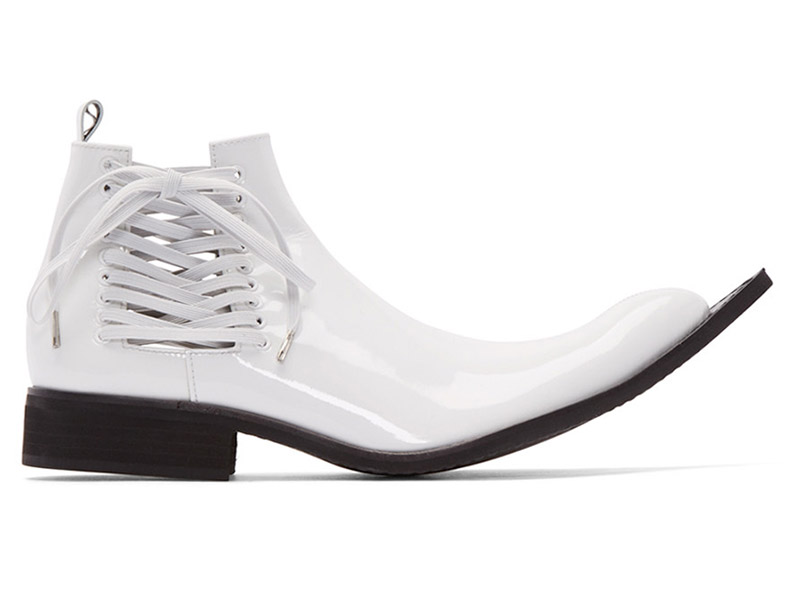 Comme des Garçons White Patent Leather Pointed Boots