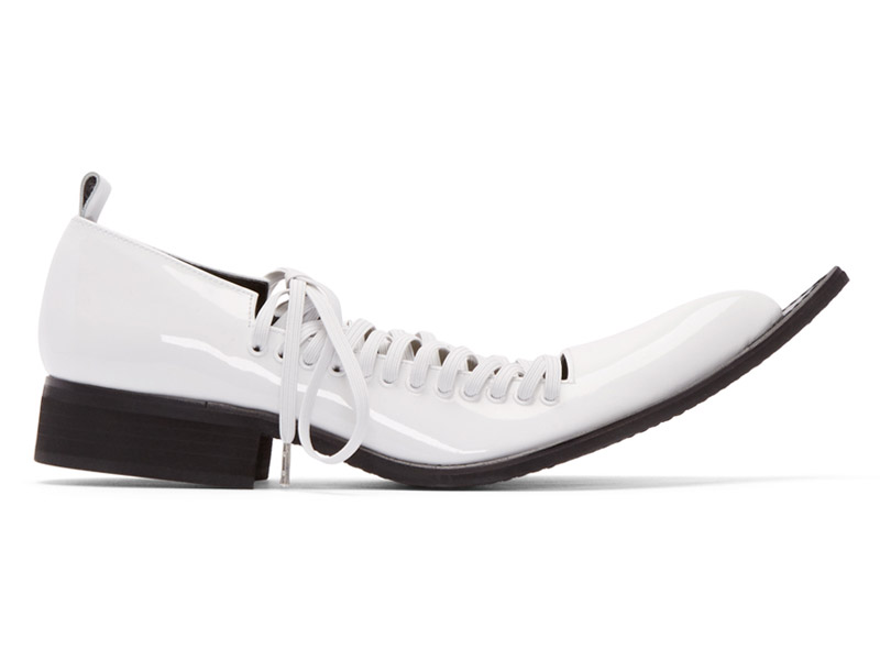 Comme des Garçons White Patent Leather Pointed Oxfords