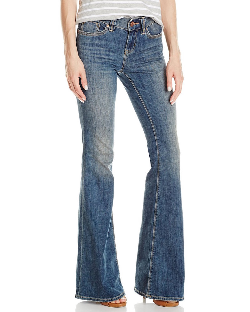 Dittos Christine Mid-Rise Flare Jean In Authentic Light Destruction