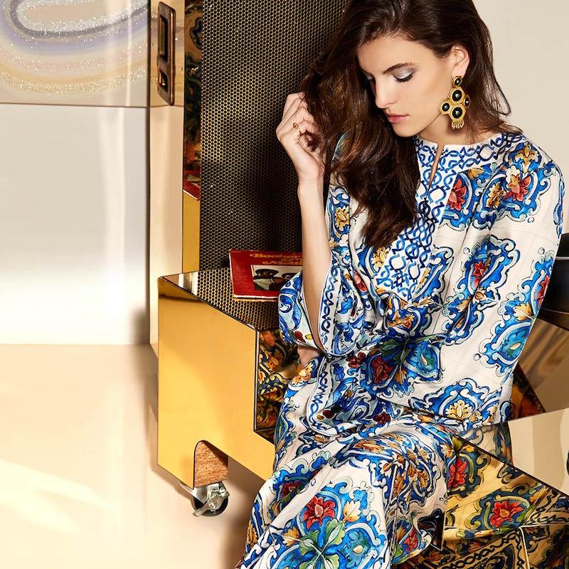 Dolce & Gabbana Silk Maiolica Tile Print Caftan