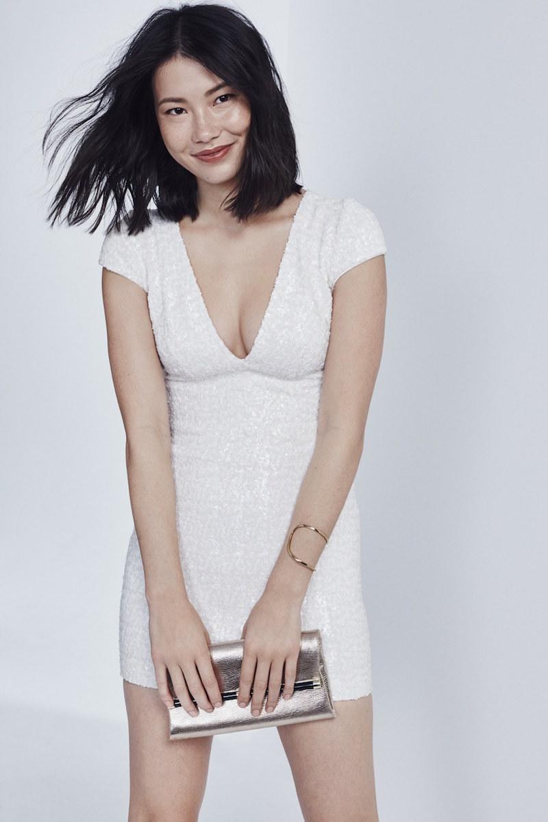 Dress the Population Zoe Sequin V-Neck Body-Con Dress