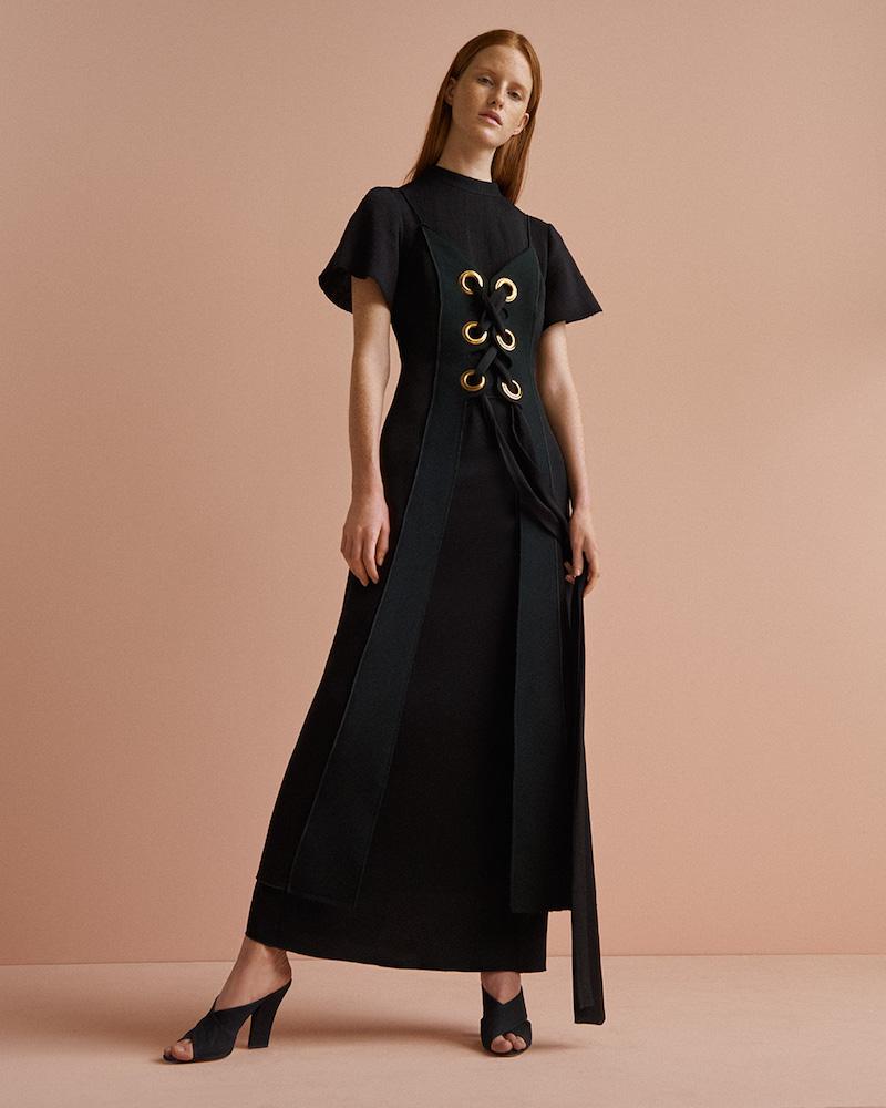ELLERY Delorean Lace-Up Maxi Dress
