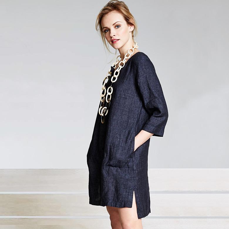 Eileen Fisher Organic Linen Button-Front Dress_1