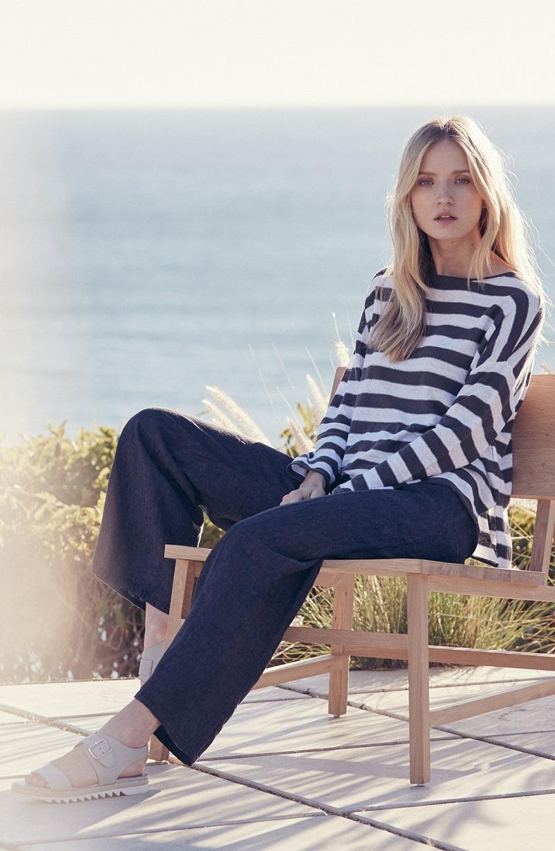 Eileen Fisher Stripe Organic Linen Bateau Neck Boxy Sweater