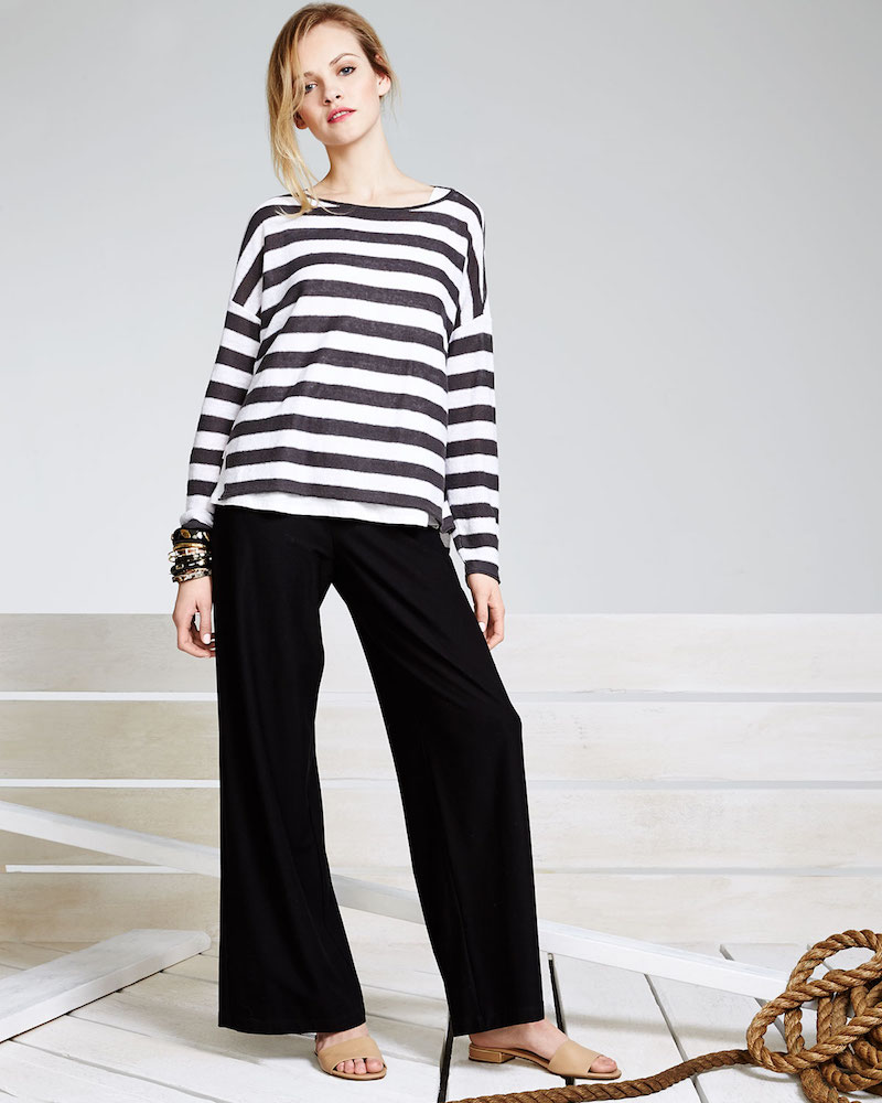 Eileen Fisher Wide Striped Box Top