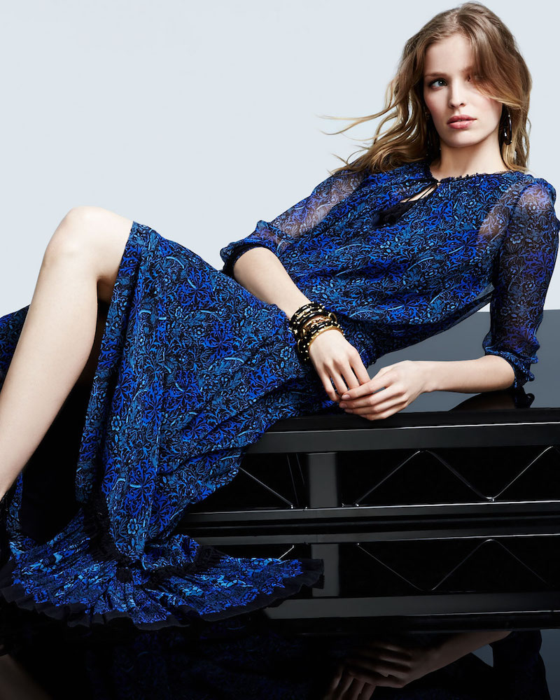 Elie Tahari Amber 3/4-Sleeve Floral-Print Maxi Dress