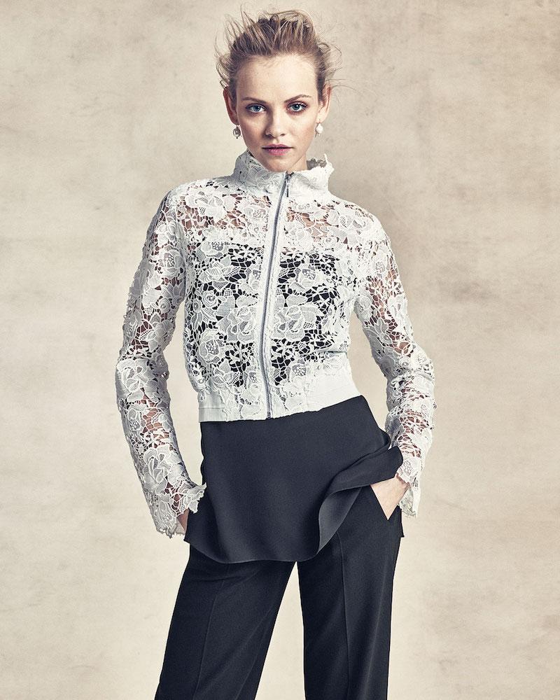 Elie Tahari Suri Lace Zip-Front Jacket