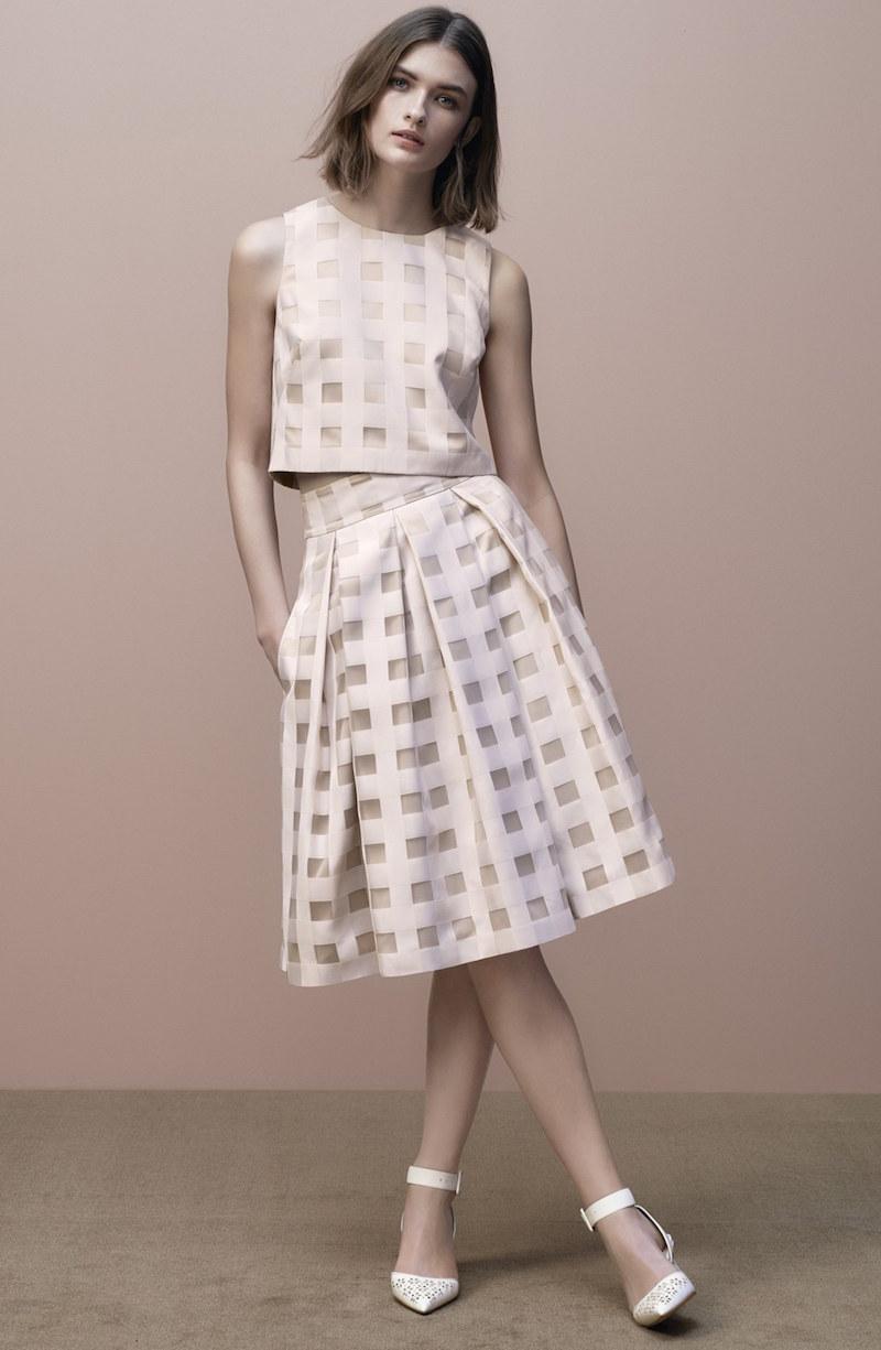 Eliza J Check Satin Two-Piece Dress