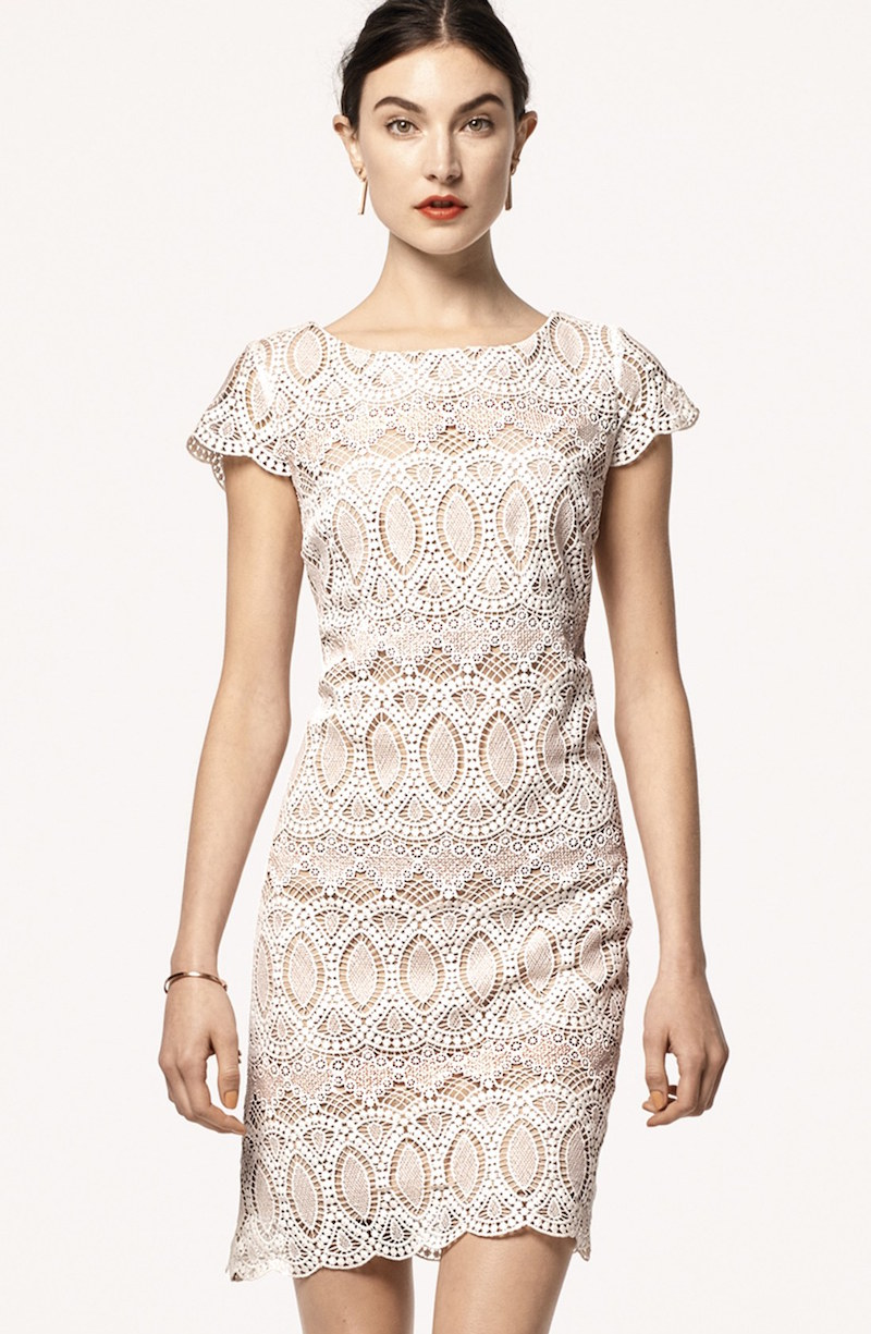 Eliza J Scalloped Lace Sheath Dress