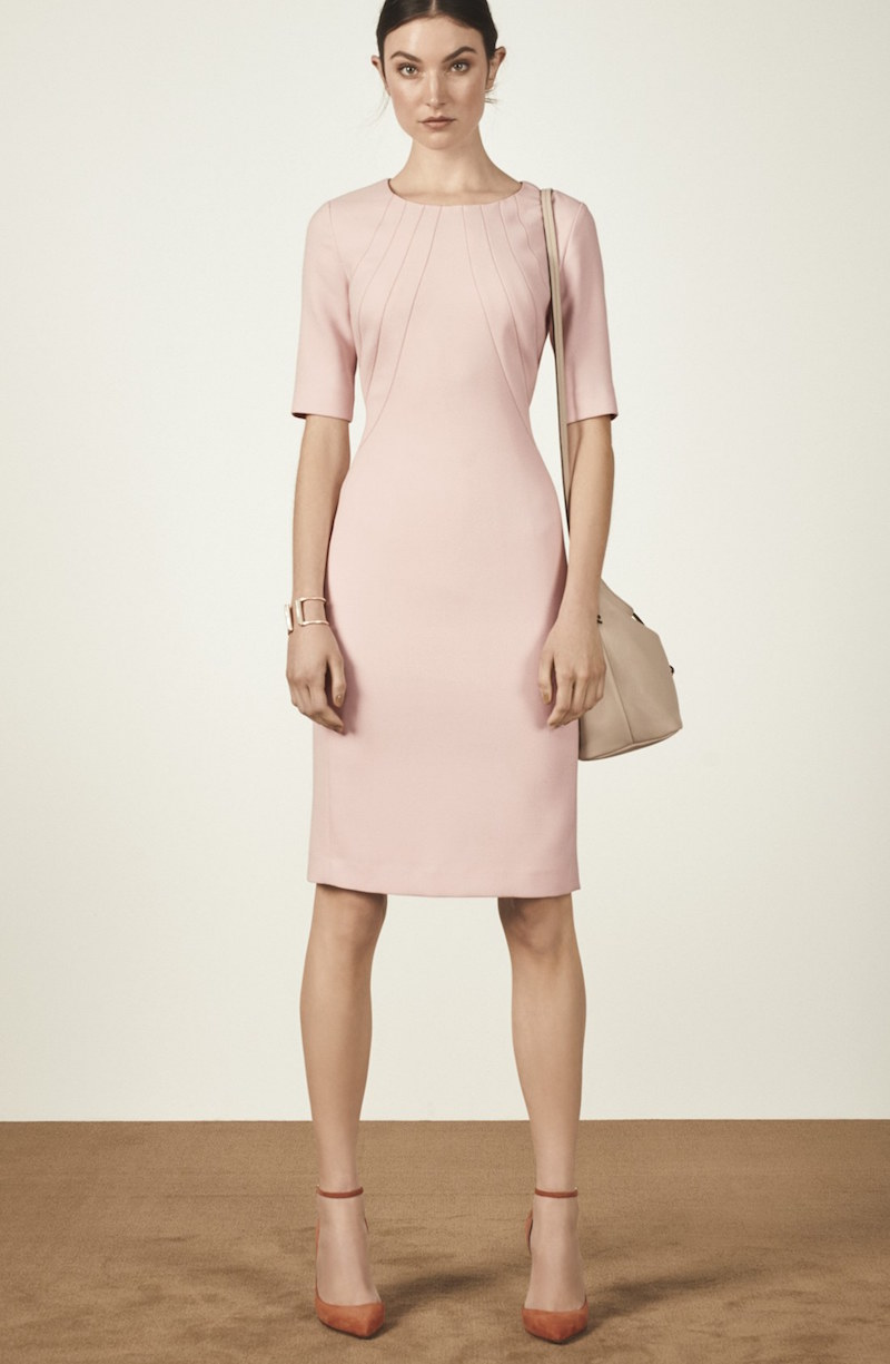 Eliza J Seamed Crepe Sheath Dress