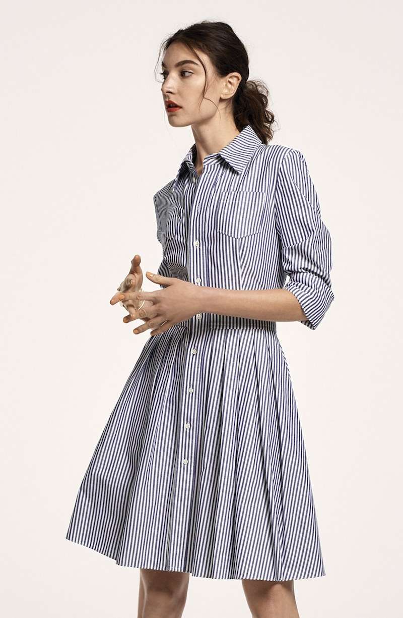 Eliza J Stripe Cotton Shirtdress