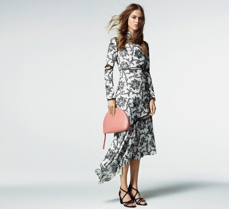 Erdem Georgie lace-trim printed silk-crepe dress