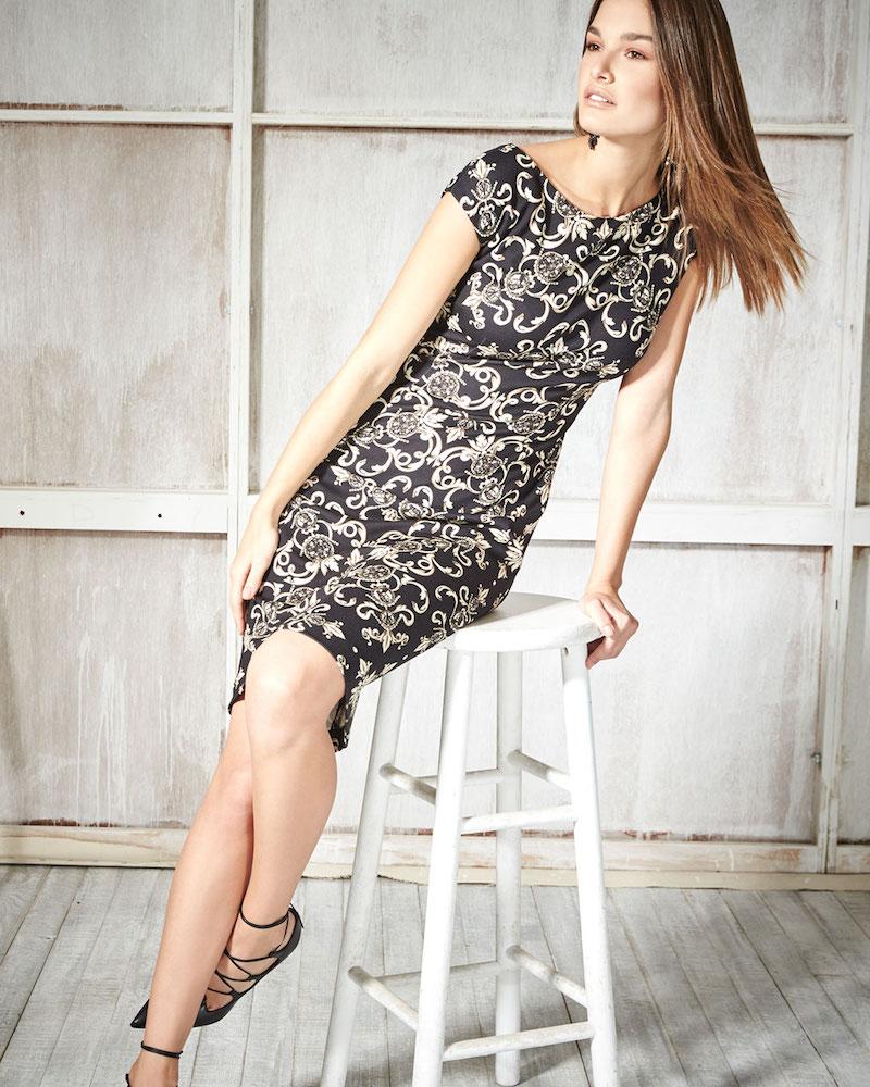 Escada Cap-Sleeve Heritage Printed Sheath Dress