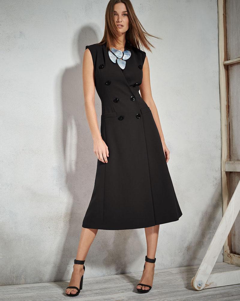 Escada Double-Breasted Sleeveless Coat Dress